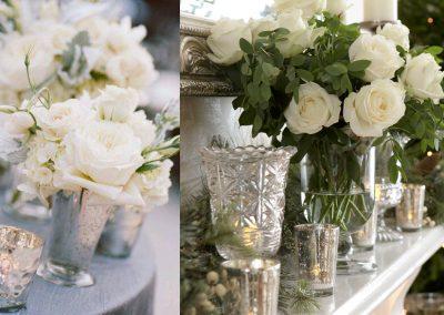 Fehér virág, üveg és fém
